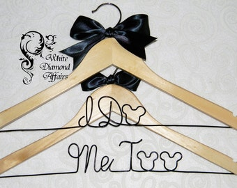 Disney Wedding Hanger Set, Mickey and Minnie Mouse Themed Wedding Hangers, I Do Me too Set, Personalized Bridal Hanger, Bridal Gift
