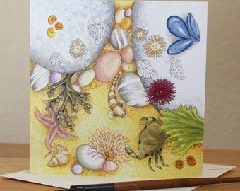 Rockpool Card, Blank Square Rockpooling, Seaside, Fish, Crab, Starfish, Underwater, Seaside Card, for Birthday, Thankyou Notecard