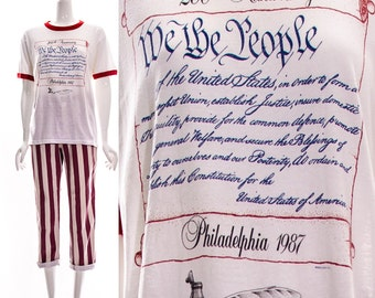 Vtg rare American 200th Anniversary We The People Constitution Ringer Tee White Red Blue Americana USA Patriotic T-Shirt Paper Thin Soft