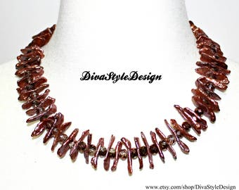 Bronze Freshwater Stick Pearl Necklace with  Swarovski Crystals; Simmering Bronze Pearl Statement Necklace