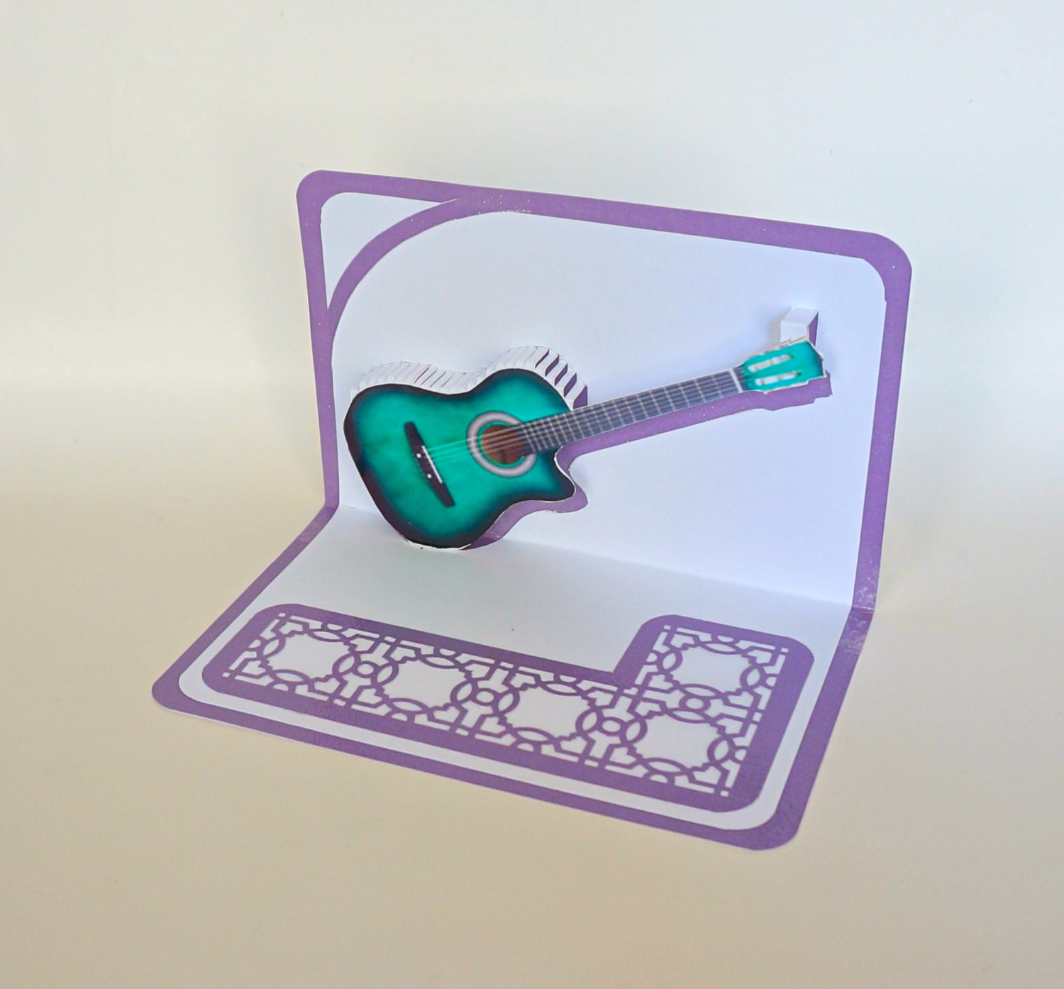 Green ACOUSTIC GUITAR 3D Pop Up Card ORIGINAL Design American