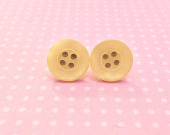 Luscious Yellow Earrings, Soft Yellow Studs, Button Stud Earrings Made From Vintage Buttons in Lemon Meringue Yellow