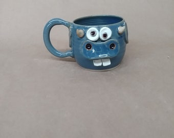 Funny Farm Face Mug. Microwave Dishwasher Safe Handmade Stoneware Pottery Cow Coffee Cup in Blue. Father's Day Gift for Dad. Moo.