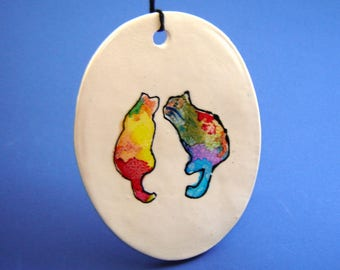 Pair of Cats Wall Hanging – alcohol ink painting – Fine Art Ceramics – tie dye inspired – handmade ornament – Goldhawk Pottery – home décor