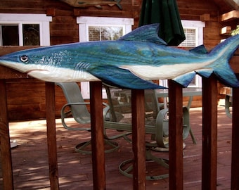 "Blue Shark 50"" chainsaw wooden nautical carving saltwater fish  wall mount coastal home decor beach bungalow collectible art sculpture"