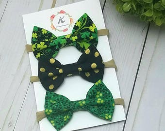 St. Patrick's day bow set, shamrock bow, black and gold dot bow, green patterned bow, baby girl headbands, nylon headband set, baby hair bow