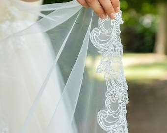 Isla sequin lace trim ivory tulle chapel length veil