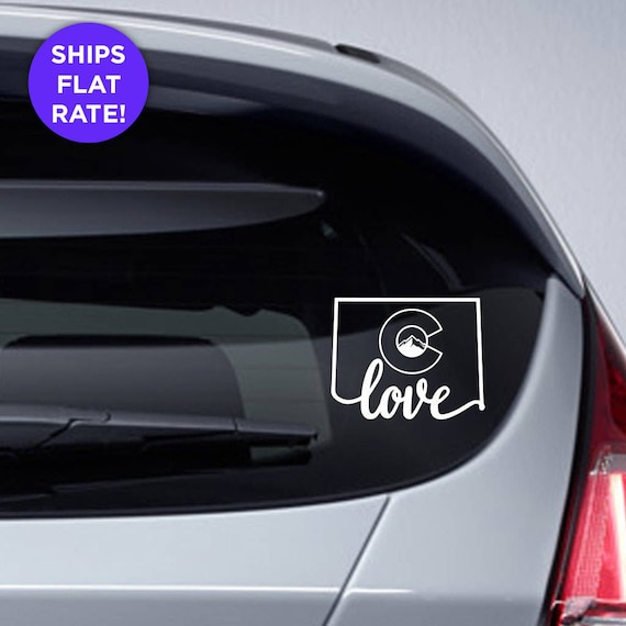 Colorado state love decal with stylized colorado