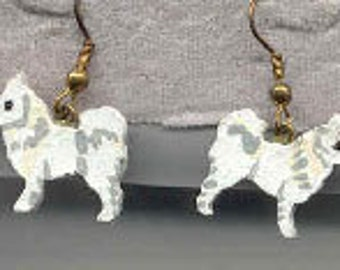 Handpainted Lightweight Wood SAMOYED HDog Breed Dangle Earrings