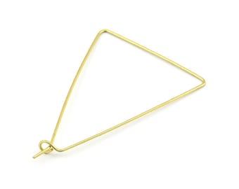 Brass Triangle Earring, 24 Raw Brass Wire Triangle Earring Charms, Pendants, Findings (47x31x0.7mm) E305
