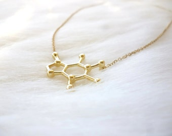 Caffeine Molecule Necklace - Gold Caffeine Necklace - Cute Molecule Necklace - Caffeine Molecule - Gold Necklace - Coffee Lover Gift