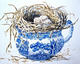 "Blue Willow Bird Nest 8""X10"" Watercolor Print"