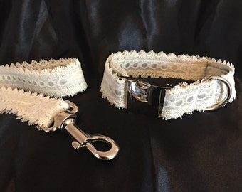 """Dog Collar, Wedding Dog Collar, Satin, Lace, 1"""" Width - Customisable To Your Colours"""