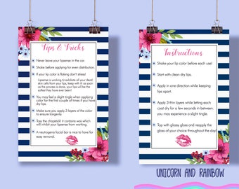 Lipsense Tips & Tricks and Instructions card. 5x7""