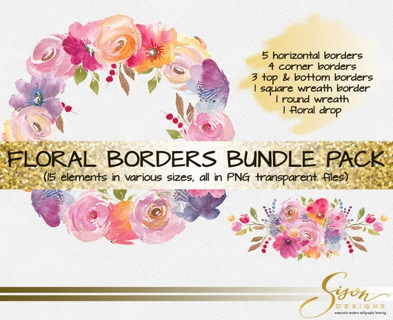 Watercolor floral clip art pink blends flower border clipart watercolor floral clip art pink blends flower border clipart watercolor floral background background clipart digital paper wall art from sisondesigns mightylinksfo