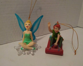 Vintage Disney collectible Christmas ornaments. Peter Pan, Tinkerbell. Your choice sold separately. Includes original box