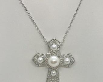 Pearl and Diamond Cross Pendant - 14K White Gold