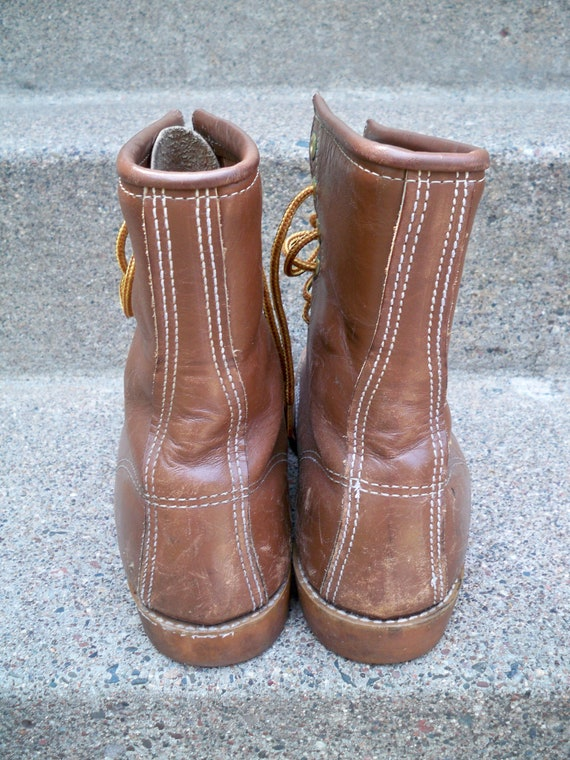 Work Working Vintage Soft 7 Hunting Men's Boots Moccasin Toe USA Size Made Toe Brown Leather 5 Sport in wRzvwf