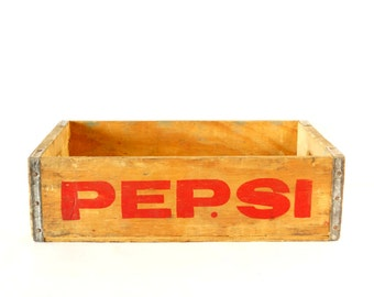 Vintage Pepsi-Cola Wooden Beverage Crate #1-81, Pepsi Crate in Red (c.1981) - Industrial Storage Box, Beverage Collectible