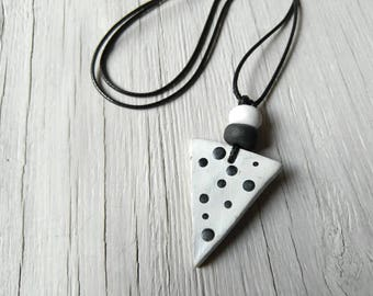 Dotted handmade pendant necklace with white and black terracotta ceramic clay beads, nail art style pendant necklace, polka dotted pendants