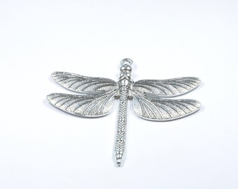 BR332 - large silver metal Dragonfly charm