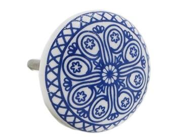 Blue Wheel Decorative Flat Ceramic Dresser Drawer, Cabinet Drawer or Door Knob Pull - i945