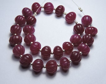 8 Inches Strand Very Beautiful Natural Pink Chalcedony Hand Carved Melon Shape Beads Size 12- 10 MM
