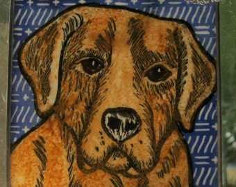 Yellow Lab  Stained Glass Dog Suncatcher JRN220
