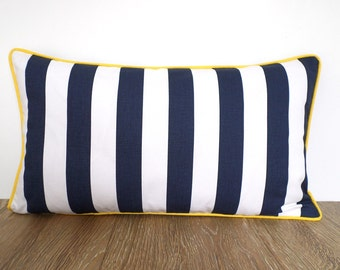 Blue and white throw pillow cover 21x12, blue striped cushion piping dorm room decor, small striped pillow blue and yellow gifts under 30