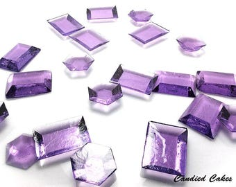 PURPLE EDIBLE SUGAR Jewels - Cupcake Toppers, Wedding Cake Decorations, Candy or Dessert Table, Sugar Gems, Featured in Brides Magazine