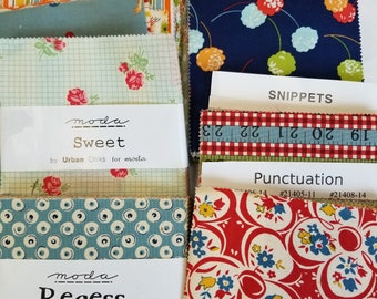 "Rare, HTF Moda Charm Squares Fabric DESTASH LOT 14. Quilting Cotton Lg Flat Rate Envelope of ""Sweet"", ""Recess"", ""American Jane"" + more"