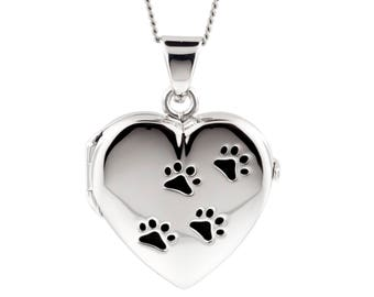 Silver Heart Pet Locket Black Paw Prints