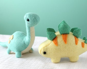 PDF Pattern - Felt Stegosaurus and Brontosaurus Dinosaur Plush Bundle