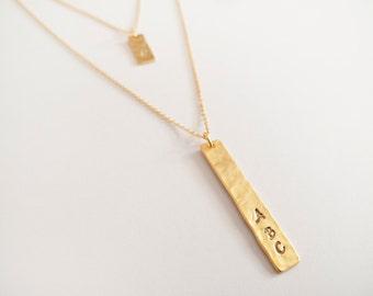 Hand Stamped Personalized Gold Bar Necklace - Minimalist Jewelry - Everyday Jewelry