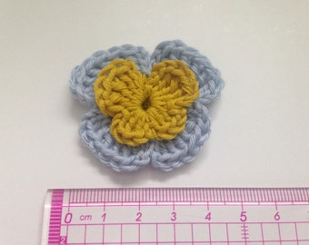 Set of 4 double crochet tone sky blue and mustard yellow pansies flowers