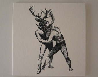 Young Bucks Brawling silk screened canvas wall hanging 18 inch black