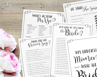 Bridal Shower Games Pack - INSTANT DOWNLOAD - Printable Wedding Shower Party Game Set/ Purse Game / Know the Bride/ He said She said / Groom