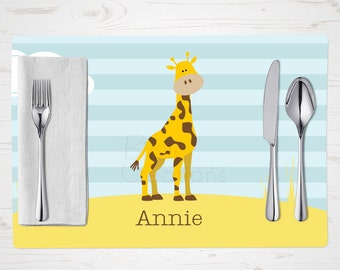 Children's Placemat - Giraffe Placemat - Personalized with Child's Name - Custom Placemat