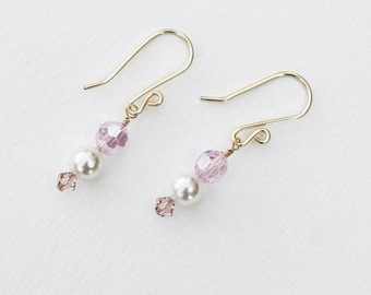 Pearl and Blush Crystal Earrings