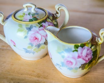 Early Century Morimura Nippon Sugar and Creamer Set ~ Vintage Hand Painted Noritake Porcelain China ~ Pink Roses Green Leaves