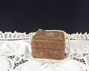 Hand Carved Wooden Box ~ Wood Trinket Box ~ Jewelry box ~ Vintage Wood Box ~ Bone Inlay