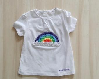 Rainbow t shirt, newborn t shirt, baby t shirt, clouds t-shirt, customer t-shirt, decorated t-shirt. Rainbow items. Baby shower gift. Ready