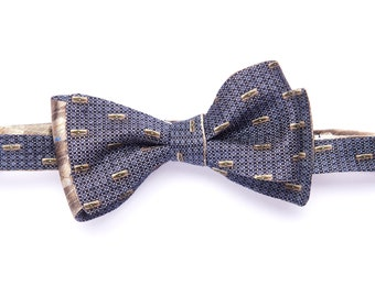 Selftie reversible bowtie with gray squares & wheat beige, silk bow tie for men, adult, classic suit, wedding and groomsmen, graduation