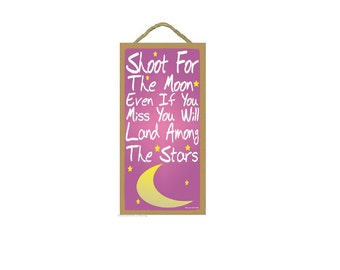 """Pink Shoot For The Moon Kids Nursery Baby Room SIGN 10"""" X 5"""""""