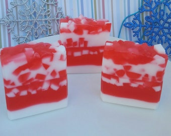 Candy cane soap, Christmas soap, peppermint soap, winter soap, red and white soap