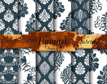 Damask digital paper pack charcoal: damask paper, scrapbook paper, gray paper, white pattern paper, printable paper, download paper
