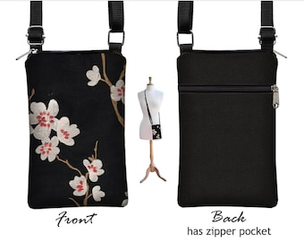 Black iPhone 7 / Plus  Case  Asian Blossom Sling Bag Fabric Cell Phone Purse Small Cross Body Bag, plum cherry red  white  MTO