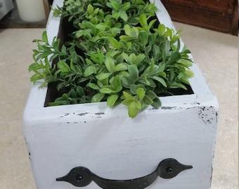 Rustic wood planter box, centerpiece