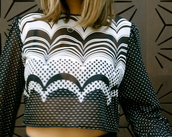 reworked black and white cropped long sleeve top