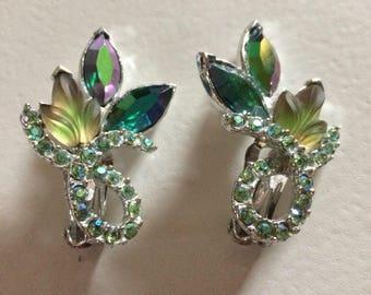 Fabulous Art Glass & AB Rhinestone Climber Earrings